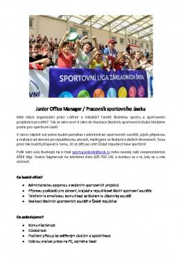 Junior Office Manager / Pracovník sportovního úseku