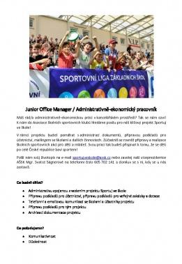 Junior Office Manager / Administrativně-ekonomický pracovník